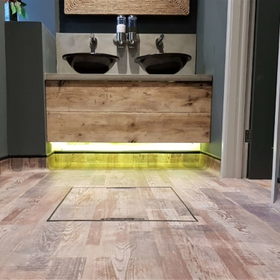 Forbo cap and cove toilet flooring