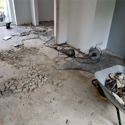 Concrete screed removal prep work
